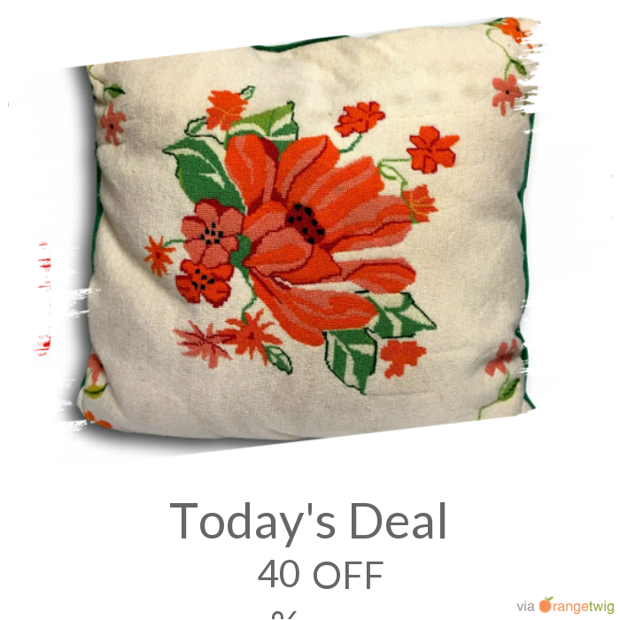 Today Only! 40% OFF this item. Follow us on Pinterest to be the first to see our exciting Daily Deals. Today's Product: Sale -  Large Vintage Preppy Chic Hand Stiched Wool Needlepoint & Velvet Decorative Pillow Buy now: https://orangetwig.com/shops/AABdT38/campaigns/AACmnzZ?cb=2016006&sn=Heathertique&ch=pin&crid=AACmoyE&exid=249197265&utm_source=Pinterest&utm_medium=Orangetwig_Marketing&utm_campaign=05-02-16   #vintagefurnitureonline #homedecor