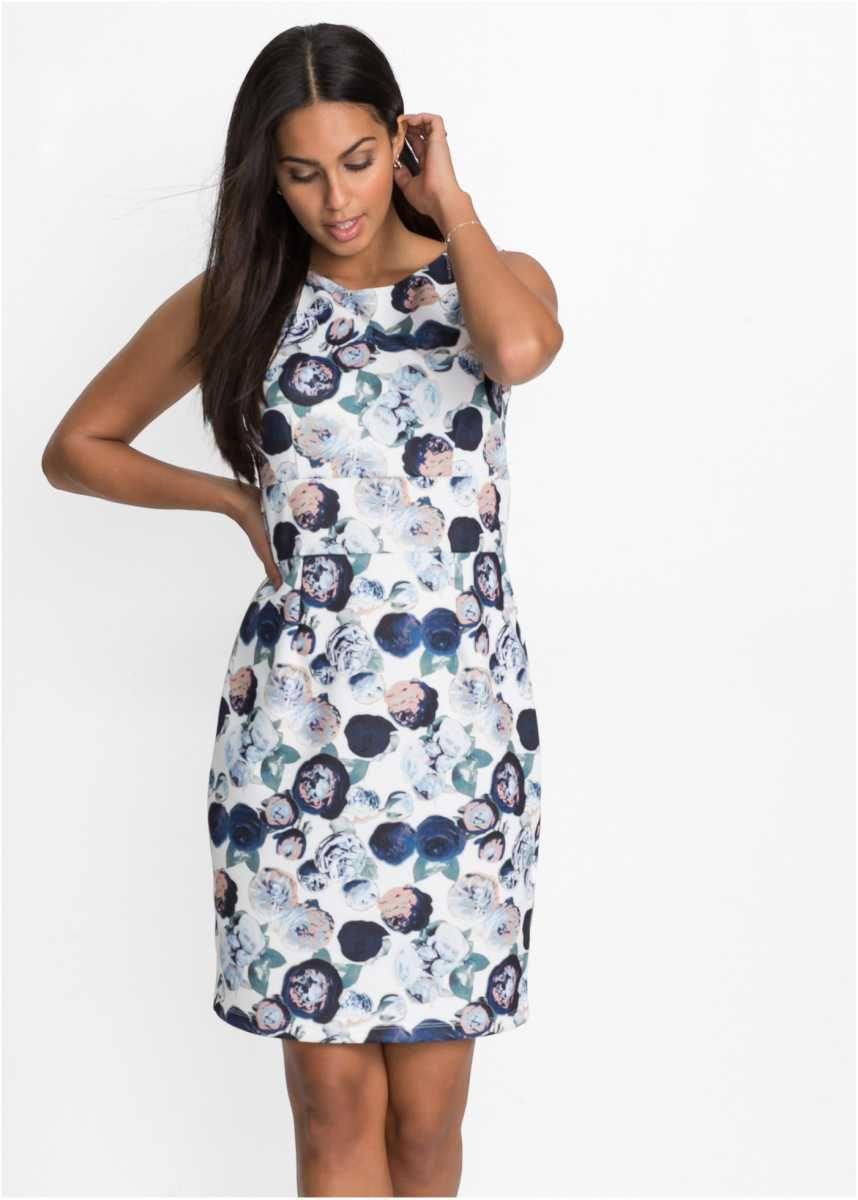 Apartes Kleid aus figurformendem Scuba Material | modewelt