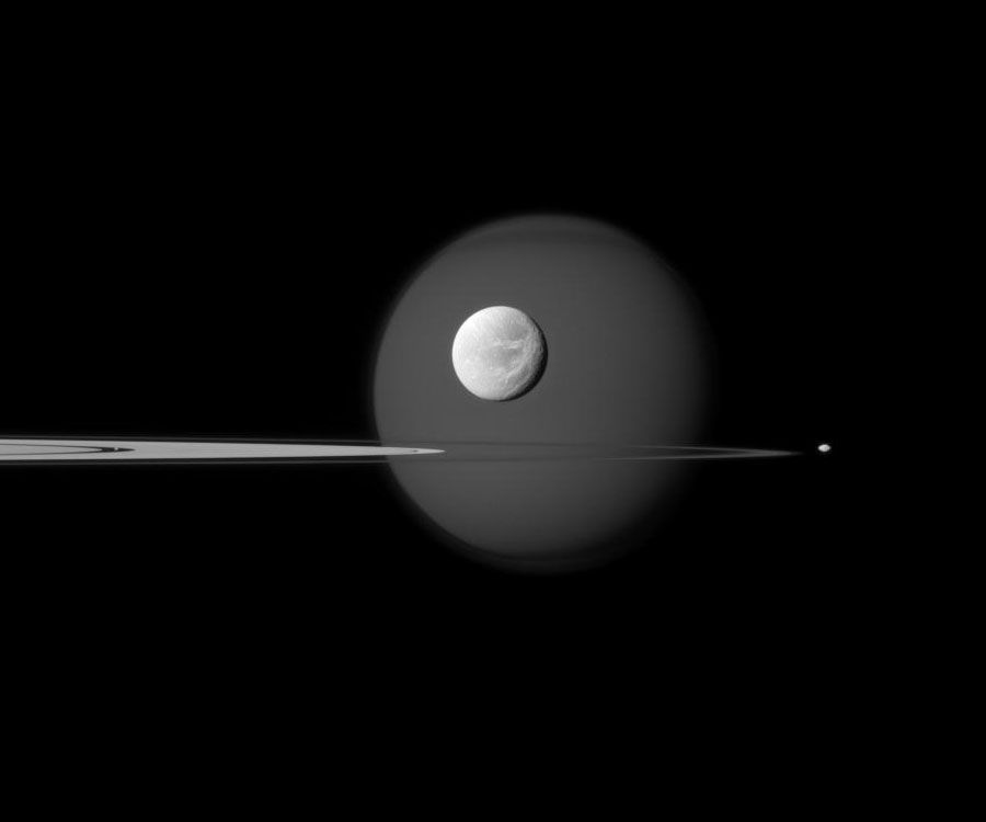 Titan, Dione, Pandora, Pan and parts of Saturn's rings