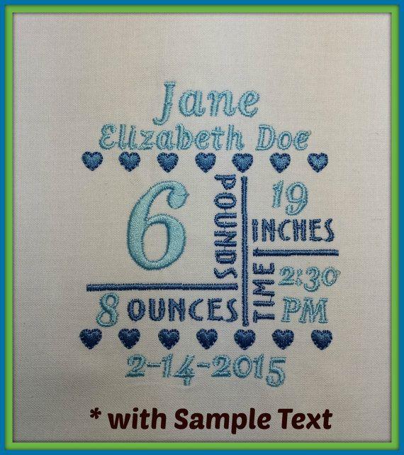 4x4 Birth Announcement Template Machine Embroidery File - announcement template