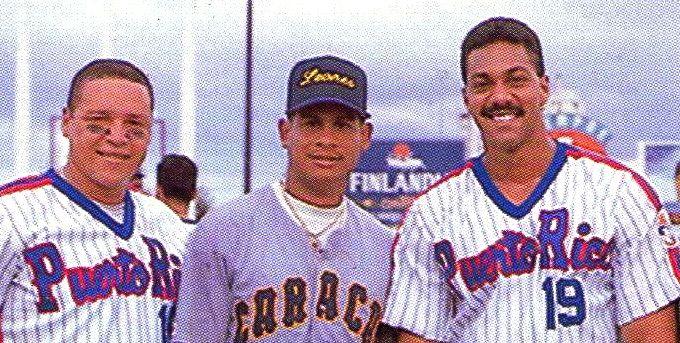 Carmelo Martínez(PR), Bob Abreu(Vzla) y Juan Igor Gonzalez(PR), en la serie del Caribe de 1995.