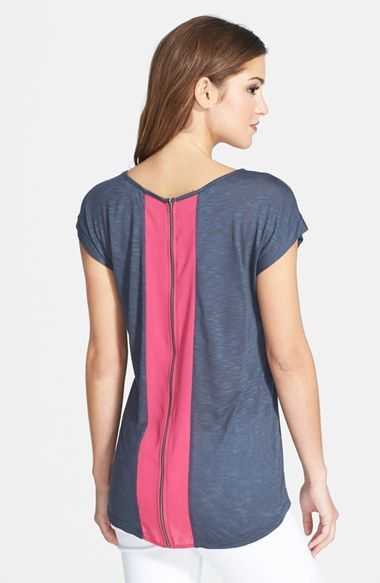 Pleione Back Zip Colorblock Tee available at #Nordstrom
