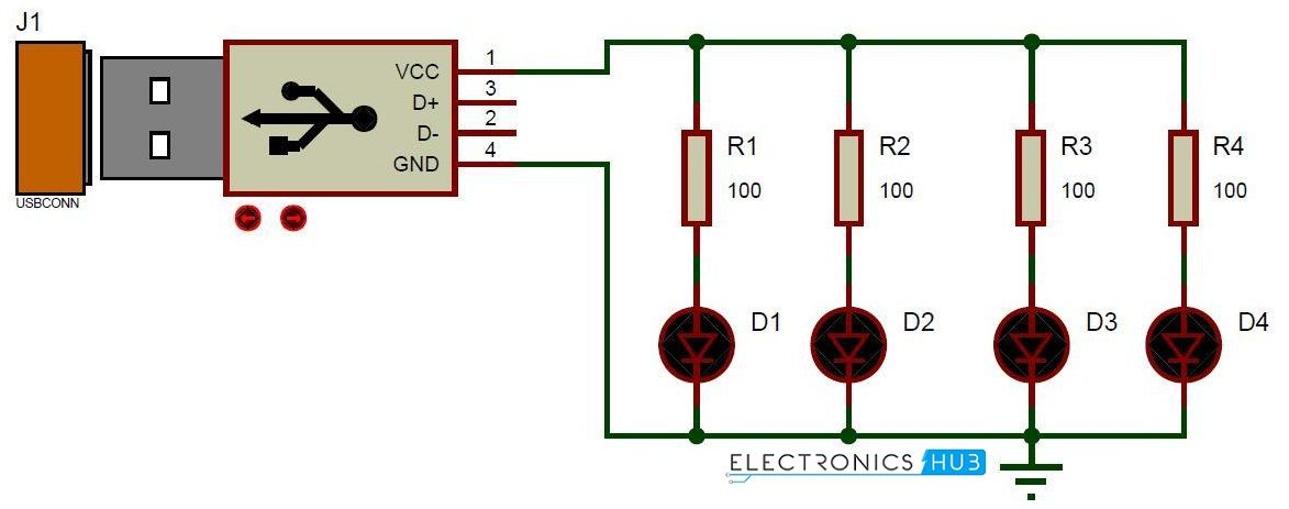 USB LED Lamp Circuit | Circuit diagram and Circuits