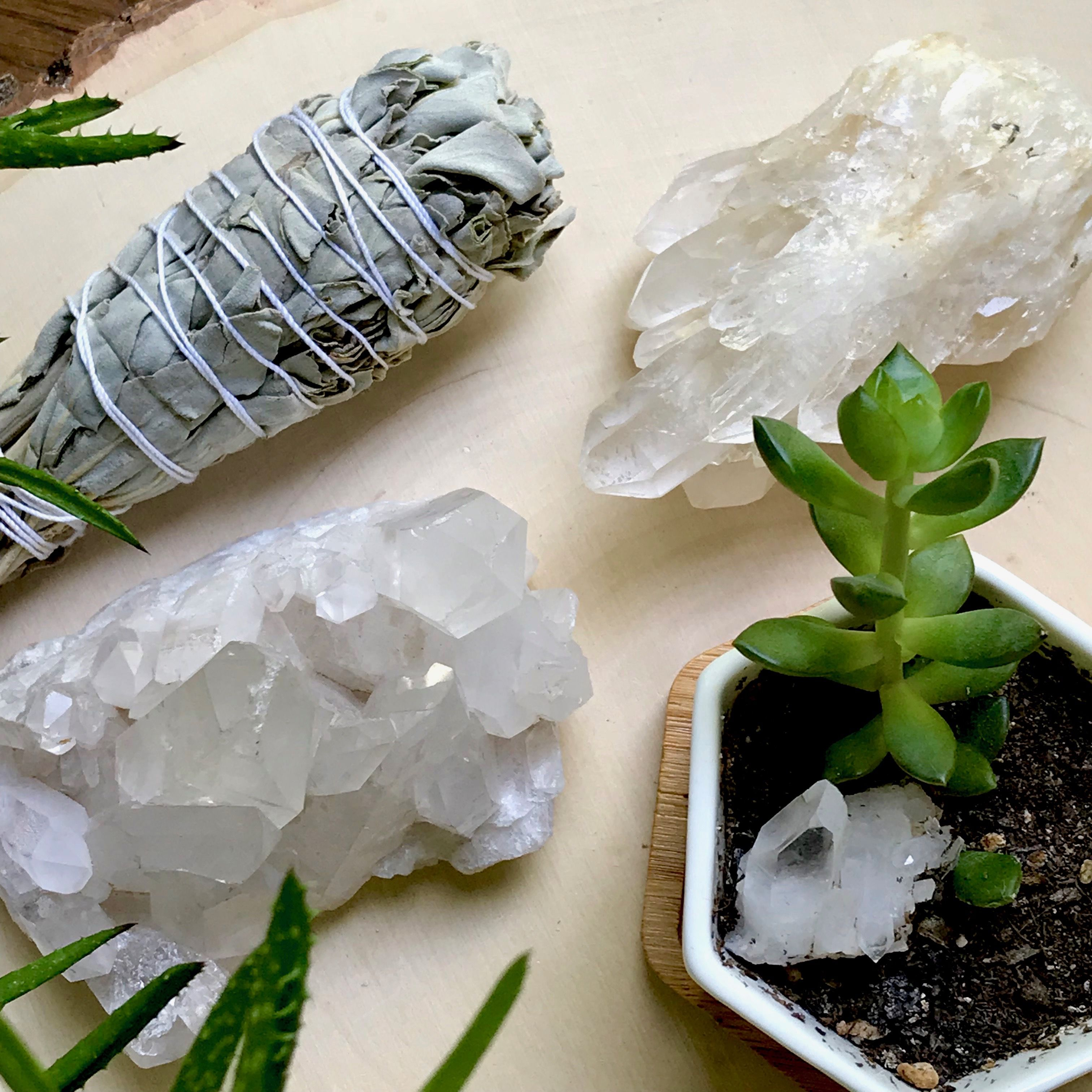 A quick sage smudge will help cleanse your crystals of