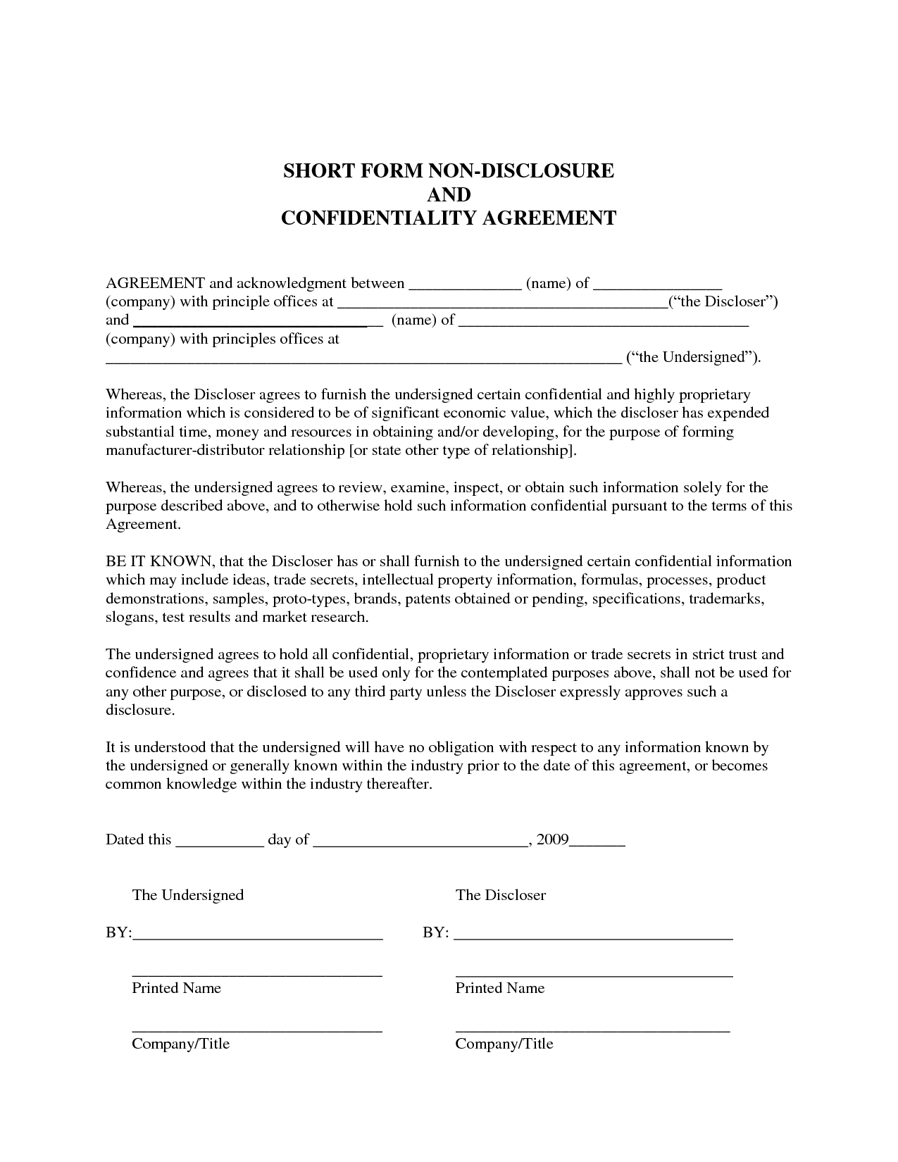 Sample NonDisclosure Agreement Confidentiality Agreement Sample - One page nda template