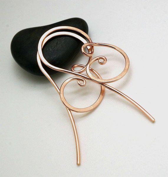 Rose gold earrings Rose goldfilled hoop earrings by atelierblaauw