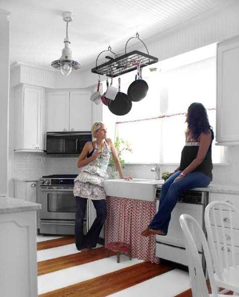 paint wood cabinets white to brighten up your kitchen...add bright ...