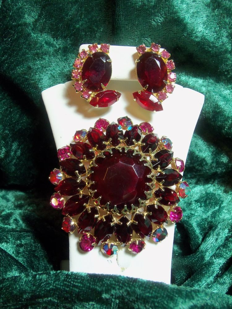 Gorgeous Ruby Red, Pink and Aurora Borealis Rhinestone Pin & Earrings Set #Unbranded