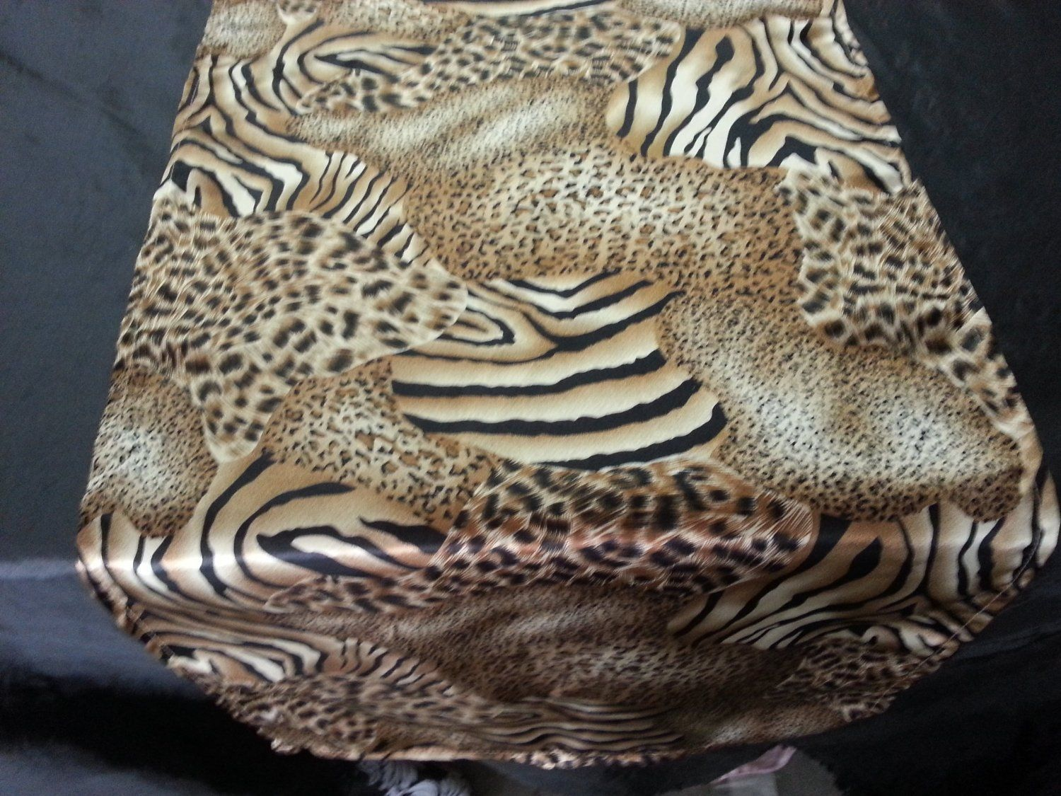 Good Satin Charmeuse Cheetah U0026 Tiger Mixed Animal Print Table Runner.
