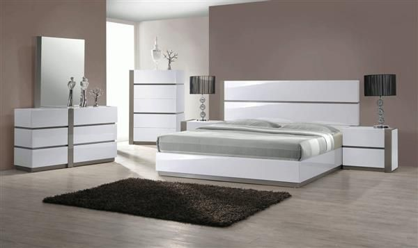 Manila Modern Gloss White Grey 4pc Bedroom Set W/Twin Bed ...