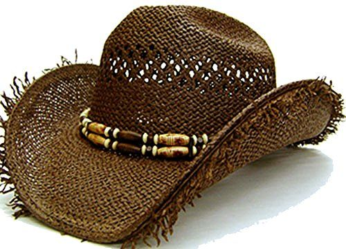 af286d5d629 Modestone Men s Very Cool Straw Cowboy Hat Fuzzy Straw Fr... https