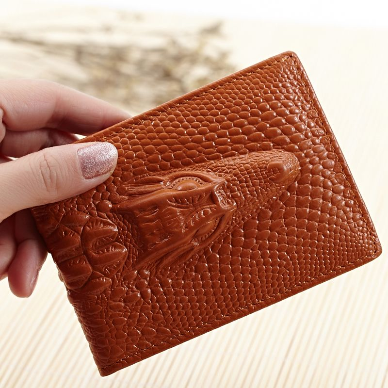 100% Cowhide Genuine Leather Alligator Grain Card Case For Driver ...