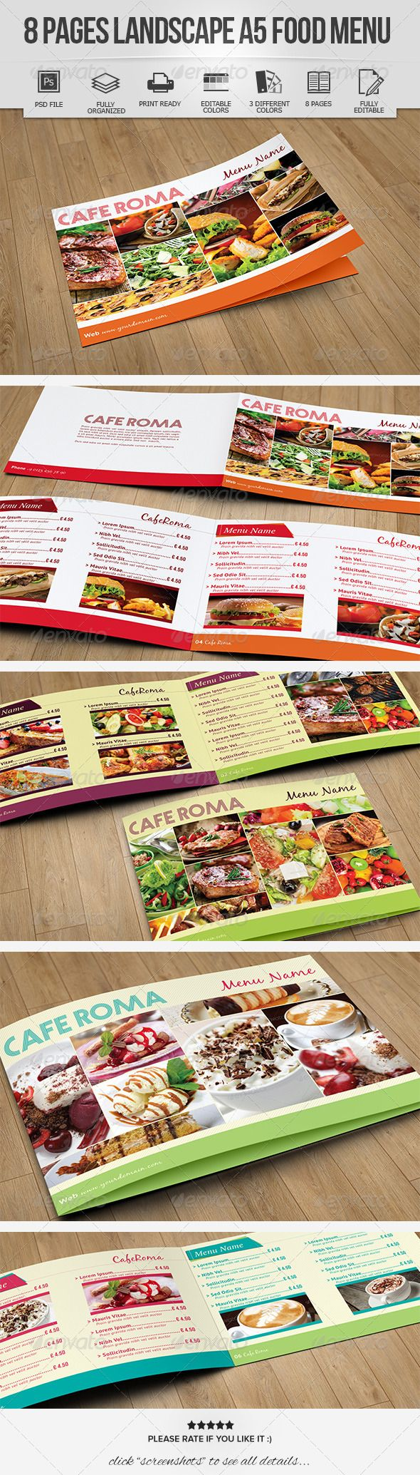 8 Pages Landscape A5 Food Menu