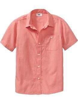 Boys Short-Sleeved Pin-Dot Shirts   Old Navy
