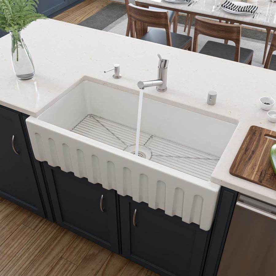 Alfi Brand 36 In X 18 In White Single Bowl Tall 8 In Or Larger Farmhouse Apron Front Commercial Residential Kitchen Sink Lowes Com Fireclay Farmhouse Sink Farmhouse Sink Kitchen Farm Sink Drop in apron front sink