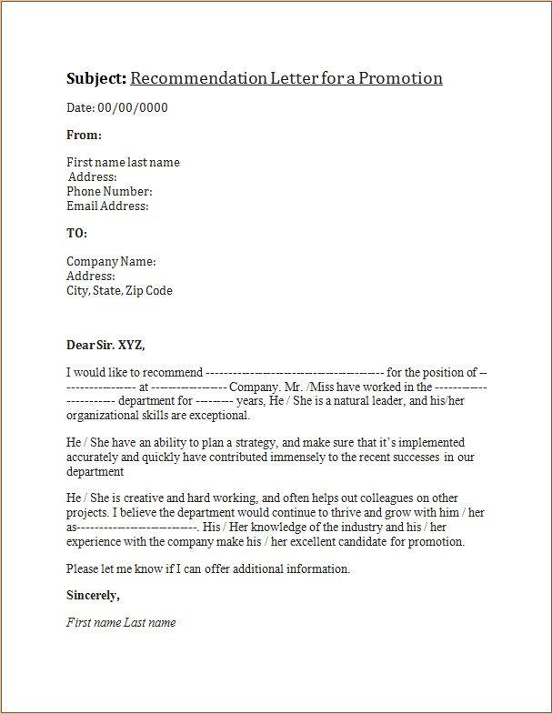 Promotion Recommendation Letter | Recommendation Letter For A Promotion Letters Pinterest