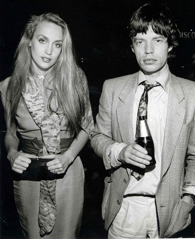 Jerry Hall & Mick Jagger, 1970's. Photo by Julian Wasser Hulton Archives