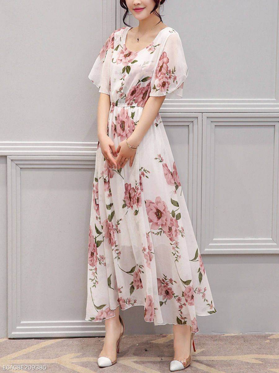 Round neck floral bell sleeve maxi dress in clothes