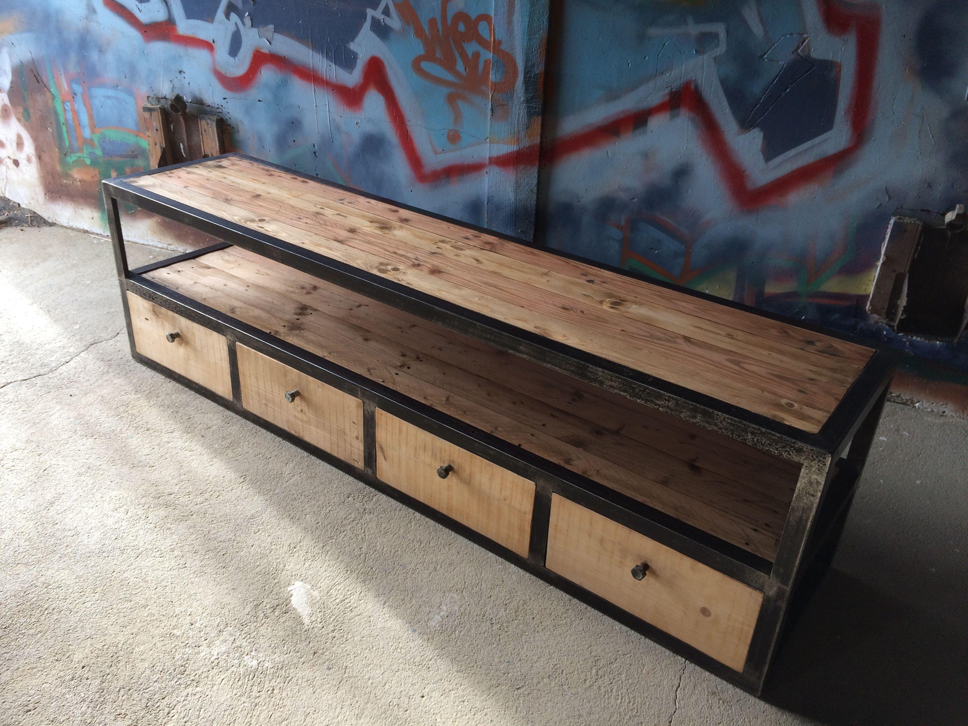Meuble Tv Industriel Atelier Brio En Metal Et Bois De Palette Meuble Tv Bois Metal Mobilier De Salon Meuble Tv Industriel