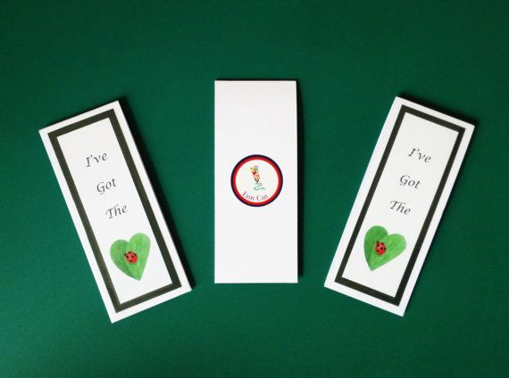 """These """"Have you got the Love Bug?"""" magnetic bookmarks have been made using 400msg card and wrapped using clear book film covering for protection. They come in a cellophane sleeve not only for protection but also for presentation, which makes them an ideal gift."""