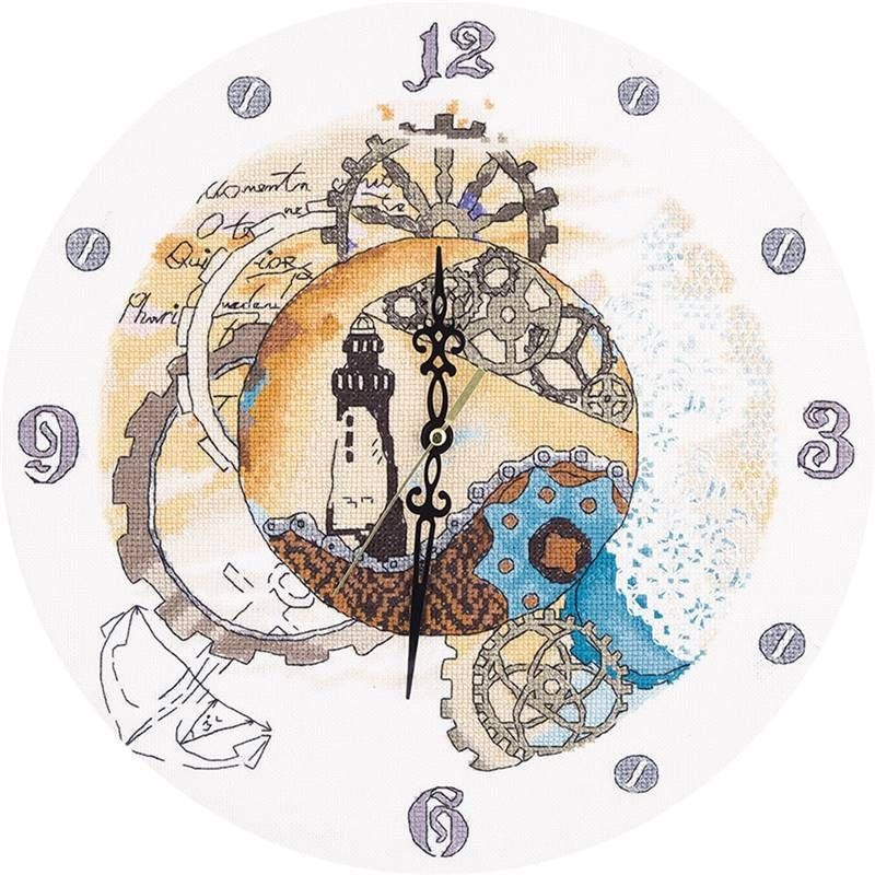 Clockwork Time - Kit à broder Horloge - Panna 1939 | Univers broderie, Point de croix moderne ...