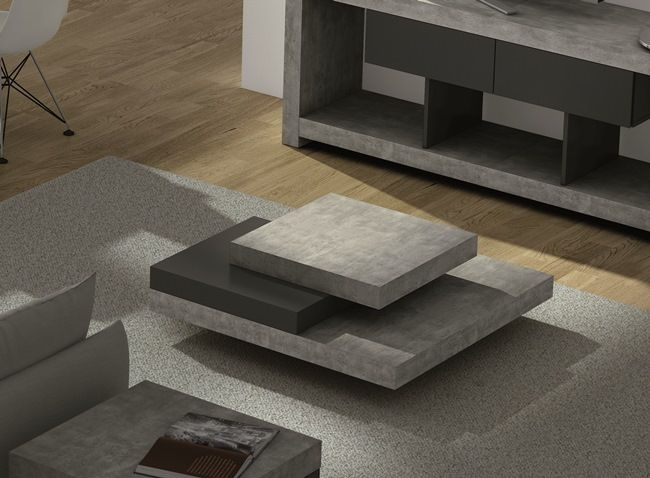Etonnant Temahome Slate, Contemporary U0027Concreteu0027 And Pure Black Finish Coffee Table