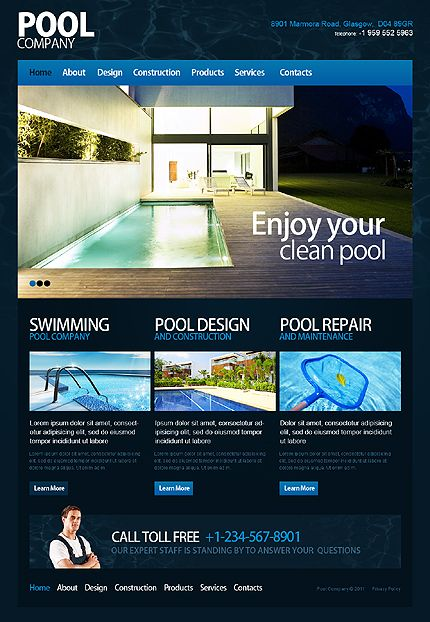 Website Template 35003 Swimming Pool Maintenance Custom