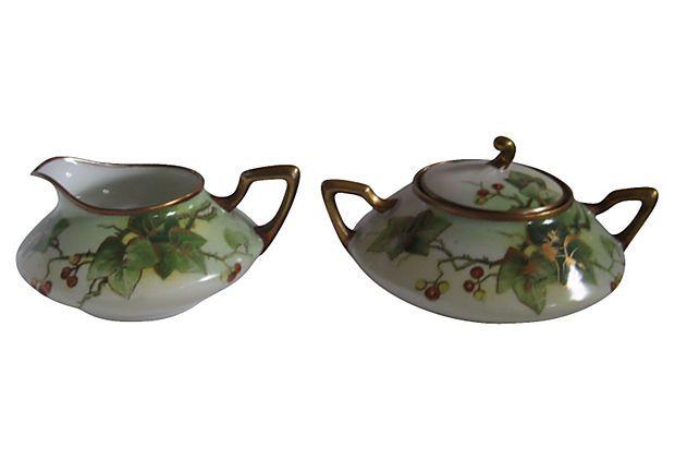 Vintage 1910-1950  Limoges Gilded Sugar Bowl & Creamer