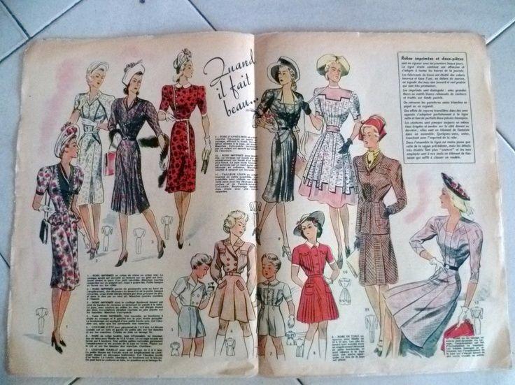 images of 1947 clothing | APRIL 1947 French FASHION / MODE Magazine VOTRE MODE # 10.... spring ...
