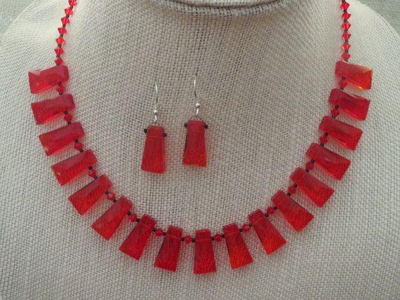 Red Trapezoid Glass Necklace Earrings Swarovski by jazzybeads