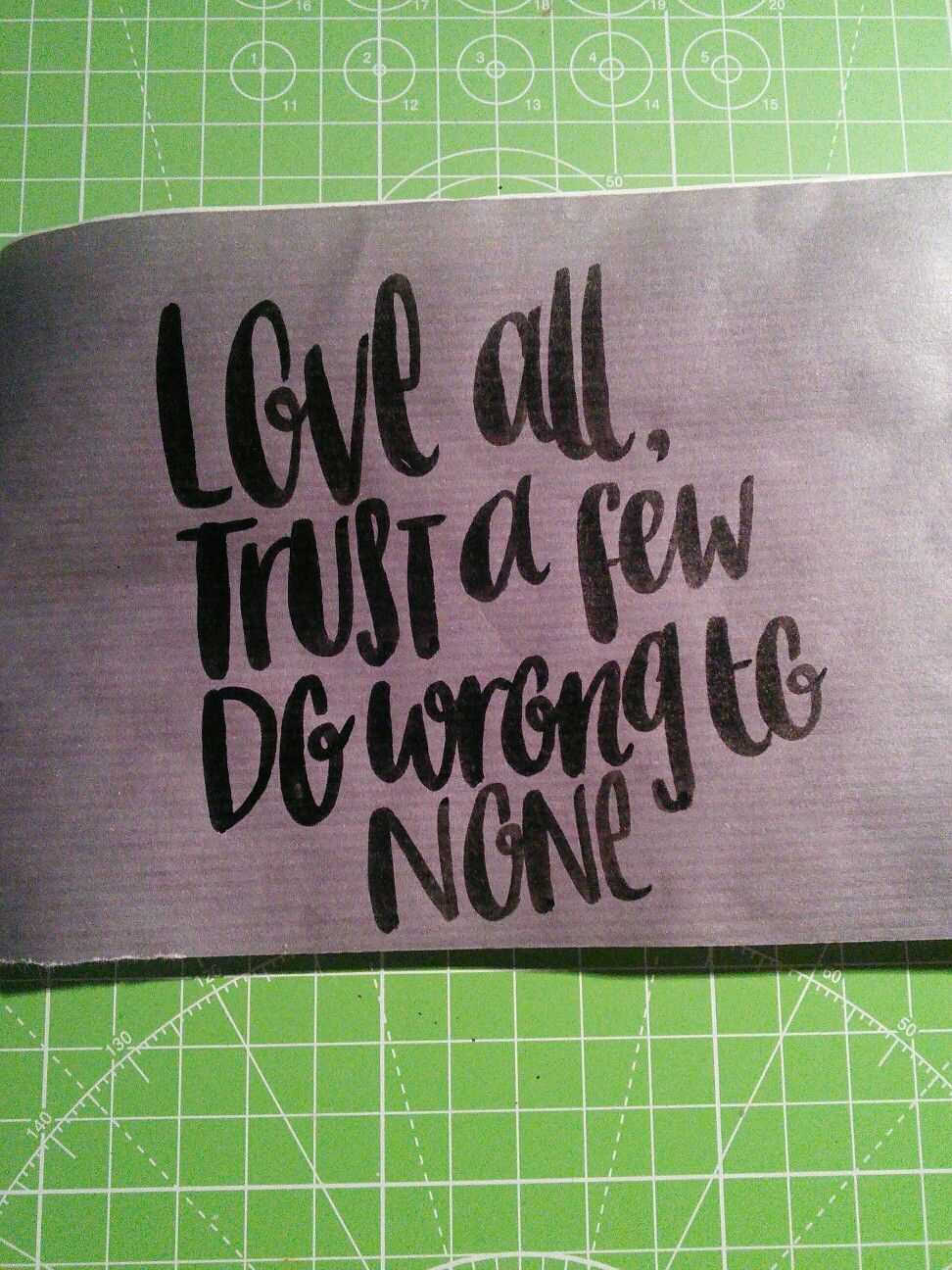 Brush lettering Shakespeare quote