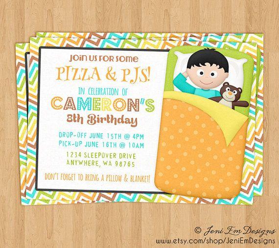 boys sleepover invitation slumber party birthday invite printable digital