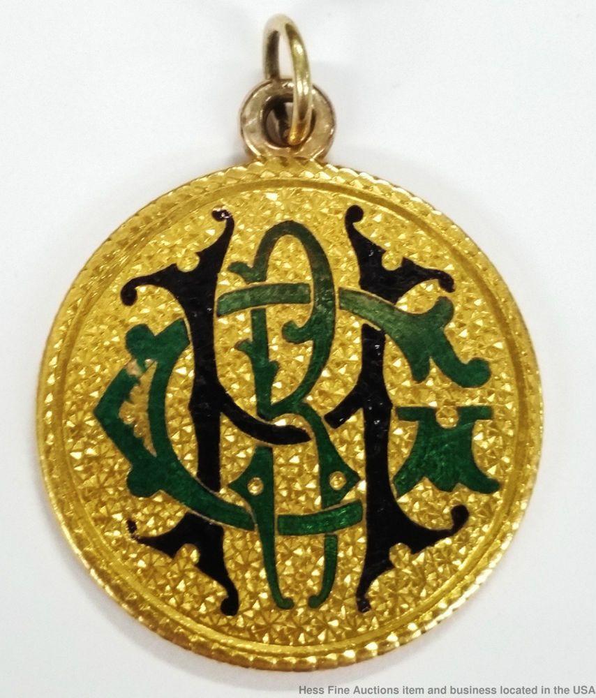 Rare 1880 Gold Eagle American 10 Ten Dollar Coin Enamel Love Token Pendant Gold Eagle Love Token Dollar Coin