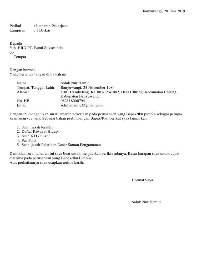 Contoh Surat Lamaran Kerja Simple