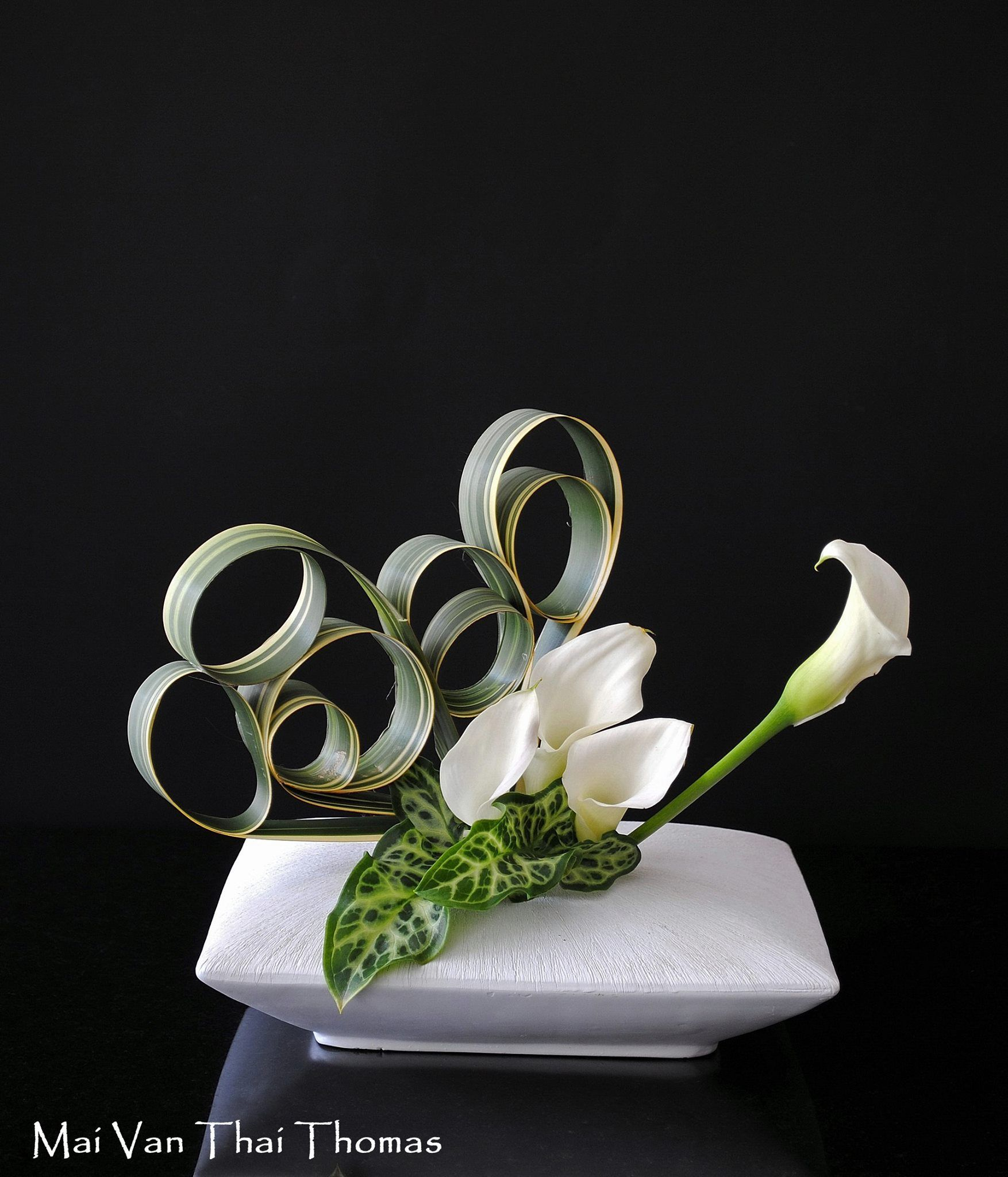 Manipulated variegated iris leaves arum callas in ikebana argt flower power izmirmasajfo Choice Image