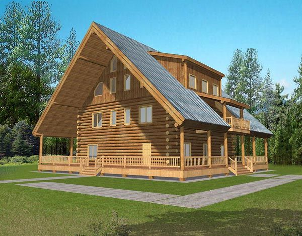 House Plan 87037 | A-Frame Log Plan with 4200 Sq. Ft., 2 Bedrooms, 2 Bathrooms