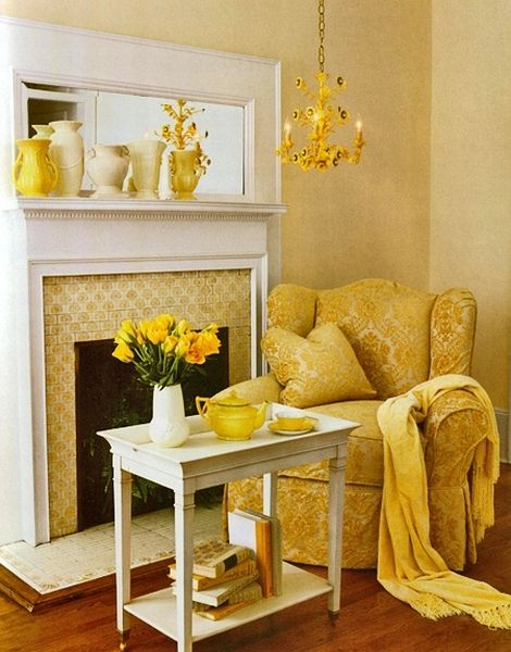 Cute Cozy Yellow Fireplace Reading Corner | Decor Pictures, Home ...