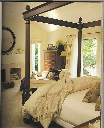 master bedroom...Luv!  bed posts.. and the fireplace!