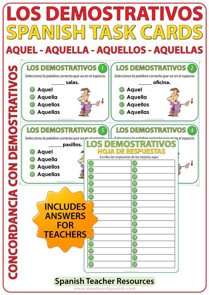Task Cards To Help Learn Spanish Demonstrative Adjectives Aquel Aquella Aquellos Aquellas Spanish Teacher Resources Task Cards Spanish Classroom Activities