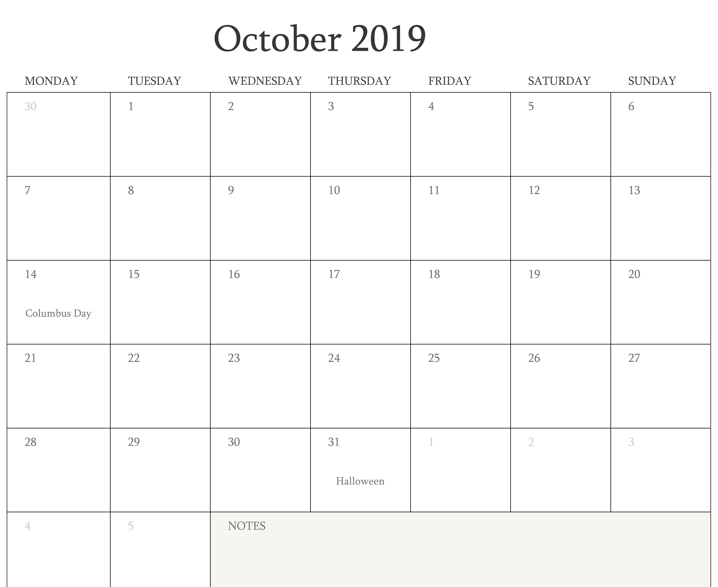 Free October 2019 Calendar With Holiday Holiday Calendar 2019 Calendar Calendar 2020
