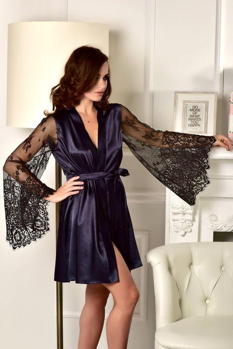 Kimono dressing gown Bridal party robe Kimono robe Robe with lace ...