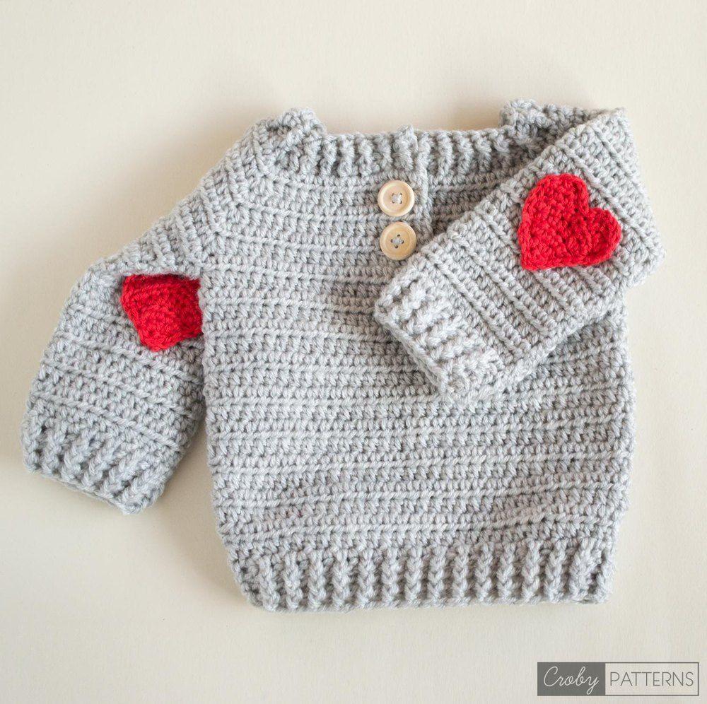 Red Heart Crochet Baby Sweater | Pinterest