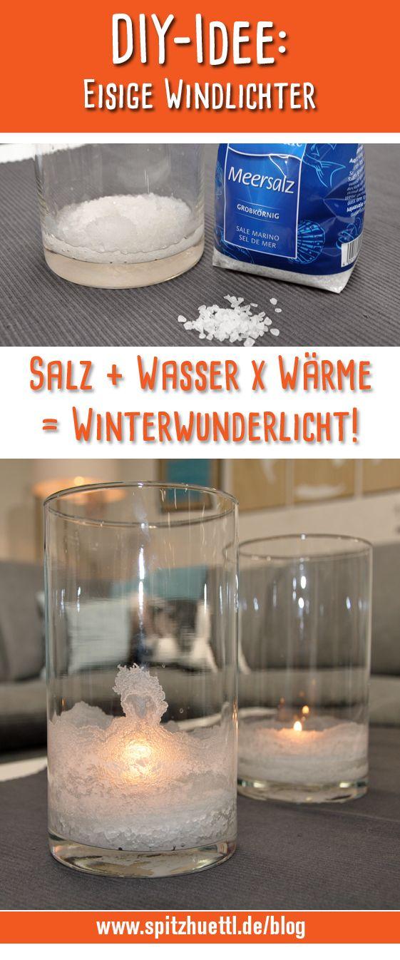 Für diese Deko-Idee reicht der Griff in den Küchenschrank! Aus Wasser, Salz und Wärme entstehen wunderschöne Winterlichter. Gleich zur Anleitung bei Spitzhüttl Home Company. #diy #windlichter #diyhomedecor