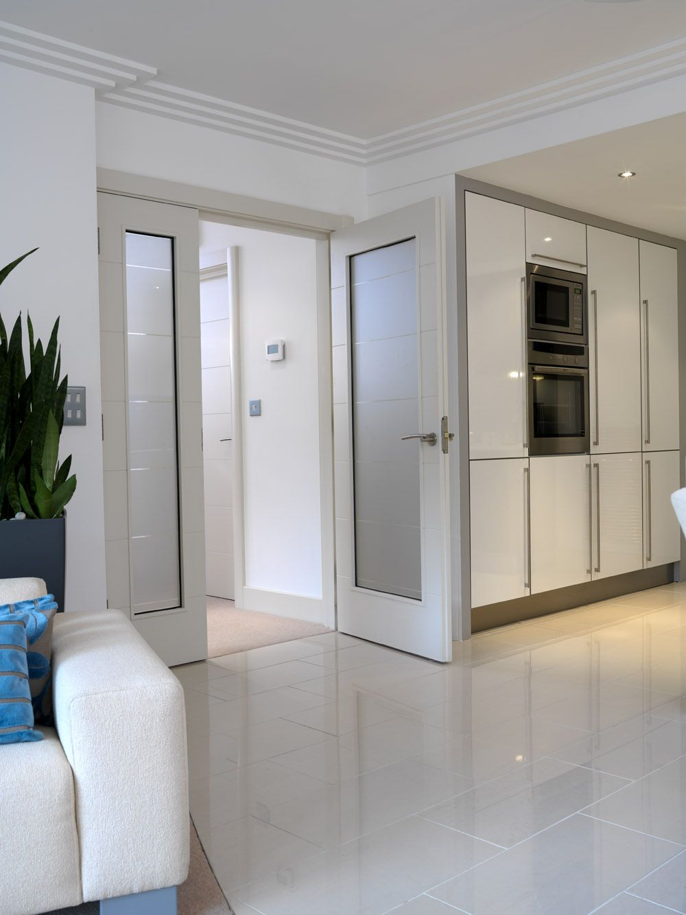 Gorgeous white glazed internal door pair whitedoors jb - Contemporary glass doors interior ...