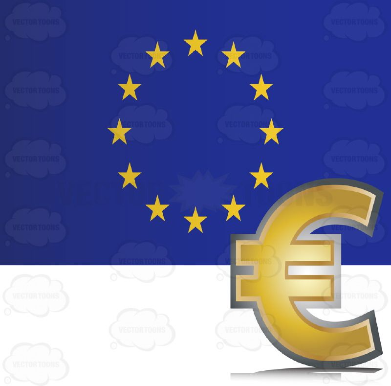 European Union Flag With Golden Euro Currency Symbol Currency Symbol