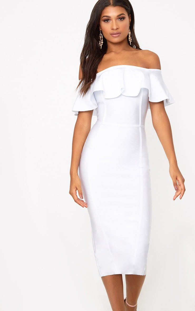4fece814b8 White Bandage Frill Bardot Midi Dress