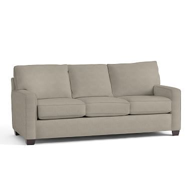 Buchanan Square Arm Upholstered Deluxe Sleeper Sofa, Polyester Wrapped Cushions, Textured Twill Silver Taupe