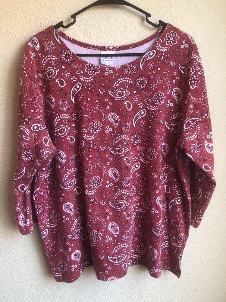 c7ed0865 ... red bandana paisley 3 4 sleeve shirt women s xl clothing shoes ...