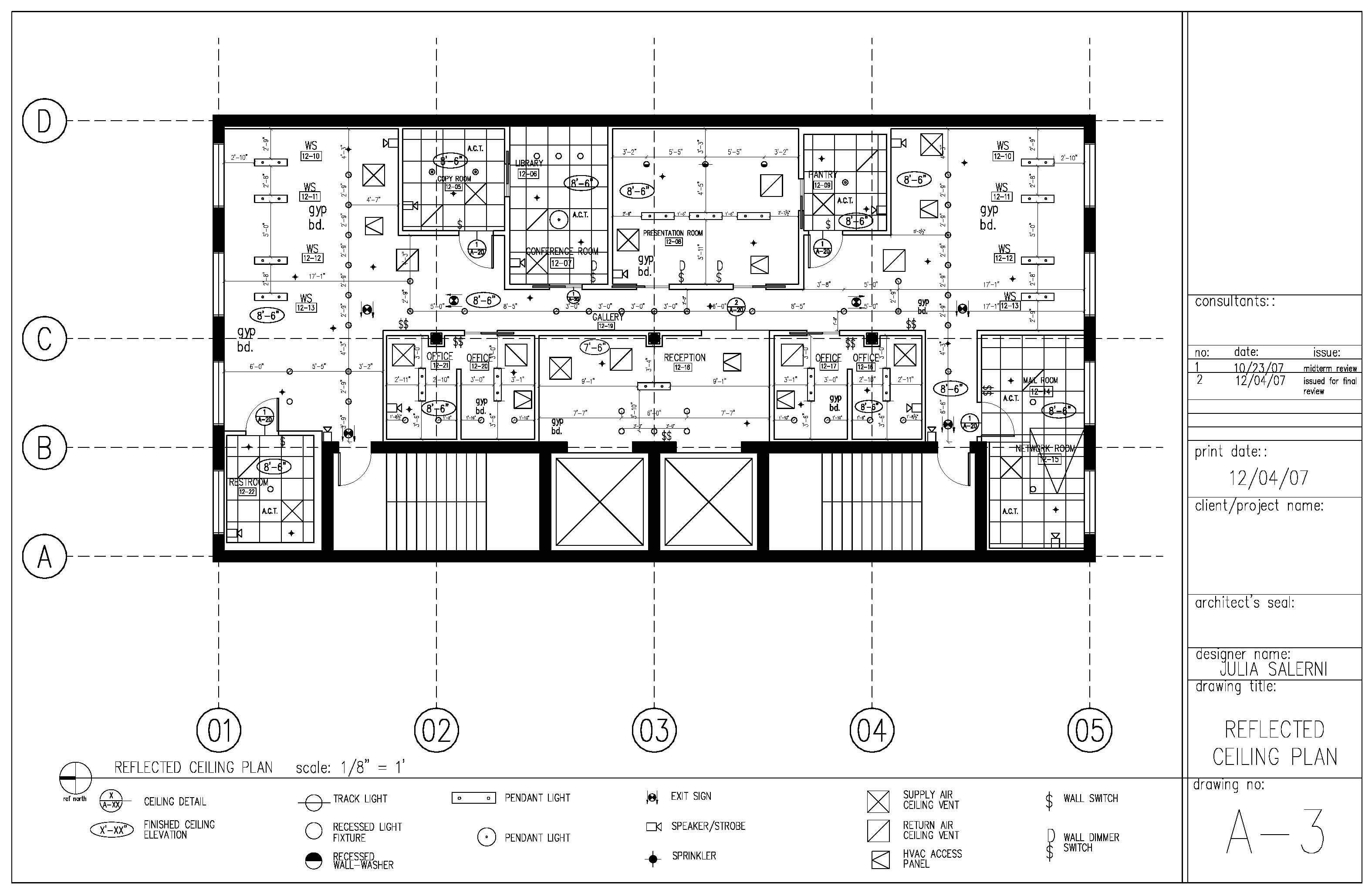 Construction documents reflected ceiling plan sample page for Autocad floor plan samples