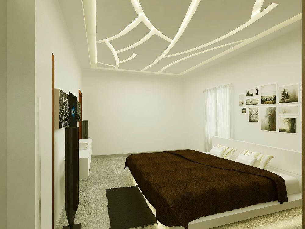 One of the funkiest false ceiling rendered by vijesh for Bedroom designs with attached bathroom and dressing room